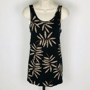 Black Tan Leaf Print Tank Top Tee Womens Large